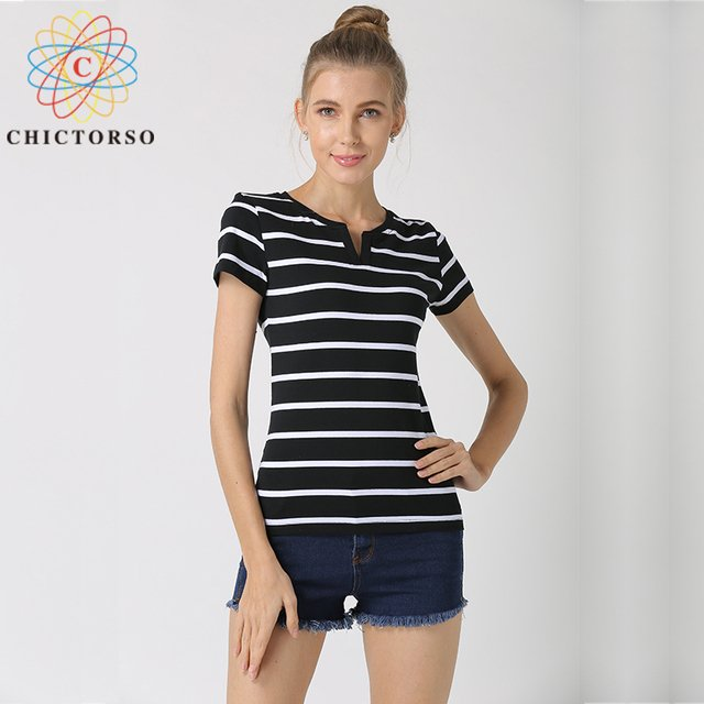 Chictorso Plus Size S-6XL Short Sleeve Striped Cotton T-shirts Women T shirt Summer Tshirt Tops Pullovers Casual Tee Shirt Femme