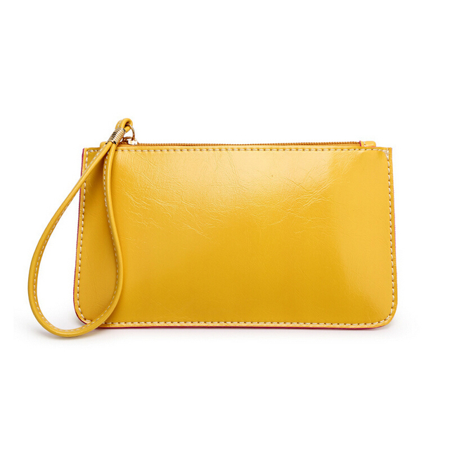 Hot new simple candy-colored PU leather clutch coin purse mobile phone wallet