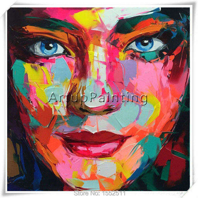 Portrait Face Oil painting Palette Knife Impasto figure canvas Hand painted Francoise Nielly Wall Art Pictures for living room 2