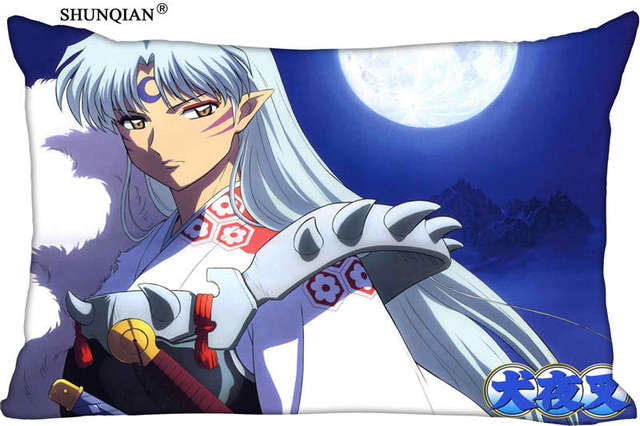 Custom Pillowcase Inuyasha Rectangle Zipper Polyester Cotton Pillow Cover Size 45x35cm (one side) Print