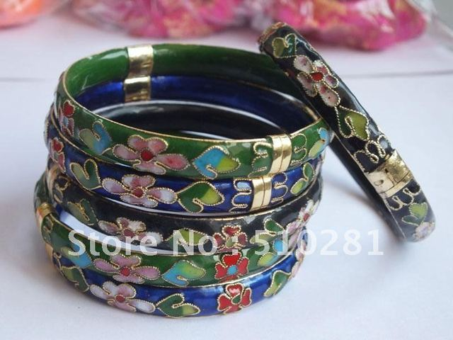 Free shipping!!! 36piece/lot 3color Cloisonne Cuff Bangle Cuff Bracelets (red blue black 3 color with flower design)