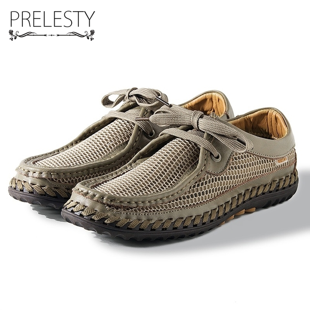 Prelesty Mesh Men Sandals Summer Slippers High Quality Casual Beach Sandals Flip Flops Beach Lace Up Dress Shoes Fish Breathable