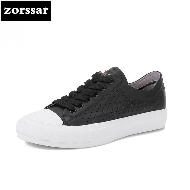 {Zorssar} Genuine cow leather Womens sneakers Breathable summer Casual flats shoes 2018 New Comfortable flat heel Driving shoes