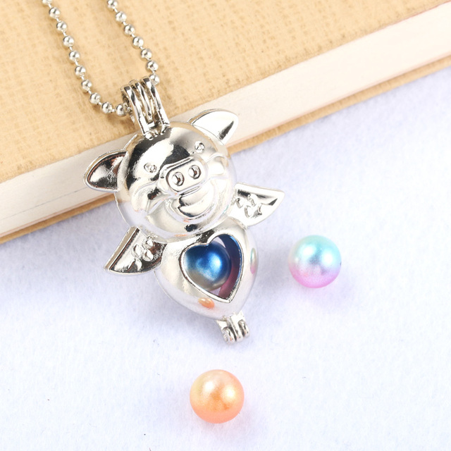 Silver Flying pig Pearl Cage Jewelry Making Supplies Beads Cage Pendant Essential Oil Diffuser Locket For Oyster Pearl