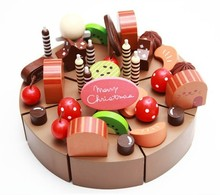 candice guo! Hot sale play house wooden toy simulational chocolate cake cut set children happy birthday gift 1pc