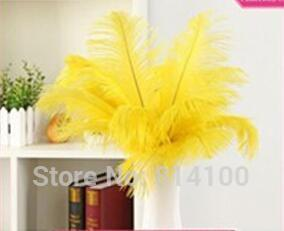 wholesale 50pcs 30-35cm/12-14inch high quality Yellow Color fluffy Ostrich Feather wedding decoration craft /DIY accessories
