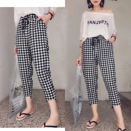 Loose Big Size Thin Pantalon Taille Haute Femme Casual Drawstring Plaid Harem Pants Fashion Wild Summer New Women's Trousers
