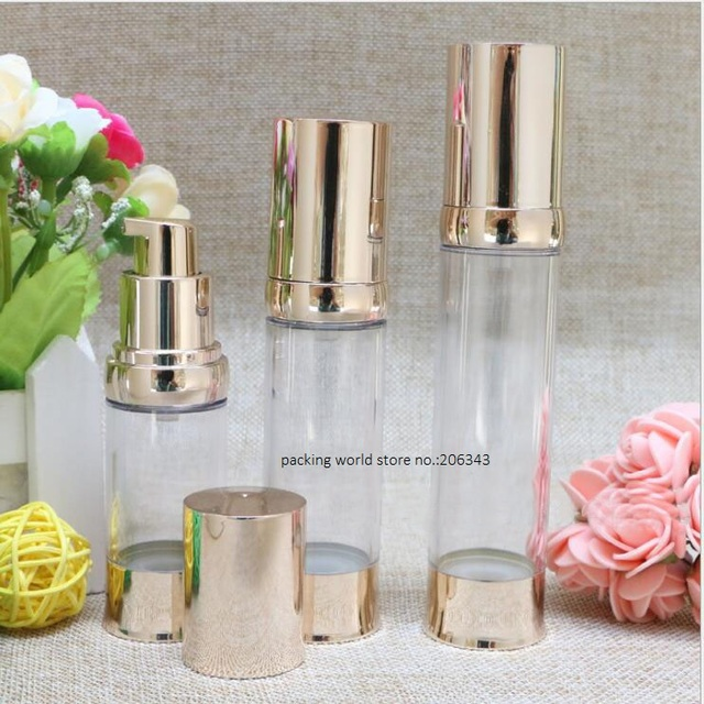 30ML light gold plastic airless bottle for lotion/emulsion/serum/liquid foundaton/whitening essence skin care packing