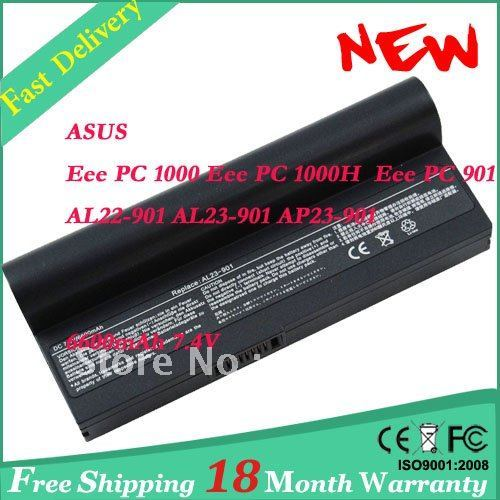 Laptop Battery for ASUS Eee PC 901 Eee PC 1000  Eee PC 1000H  AL23-901 battery 6600mAh-Black