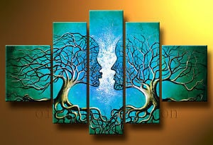 100% Hand-painted Oil Wall Art Blue Tree Human Body Home Decoration Landscape Oil Painting on Canvas cuadros pared grandes 5pcs