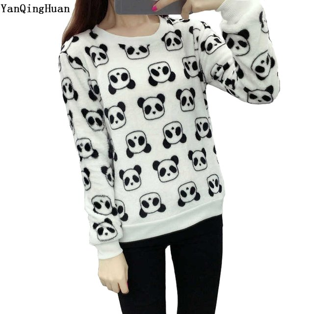 New Brand Yan Qing Huan 2018 New Winter Cute Panda Cartoon Print Harajuku Warm Sweater High Quality Soft Flannel Ladies Sweater