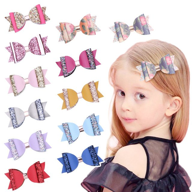 New Girls Glitter Sequin Bows Hairpins Leather Big Bow Hair Clips Tie Cute Candy Colors Hair Accessories Kids Barrettes Headwear