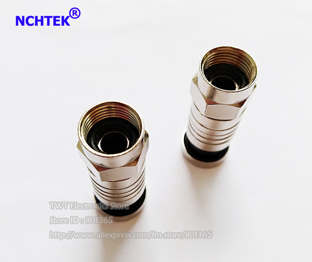 NCHTEK RG6 Coax  Compression Cable Connector Coaxial  RG-6 Coax Connectors For TV, F-Type with O-Ring/Free shipping/60PCS