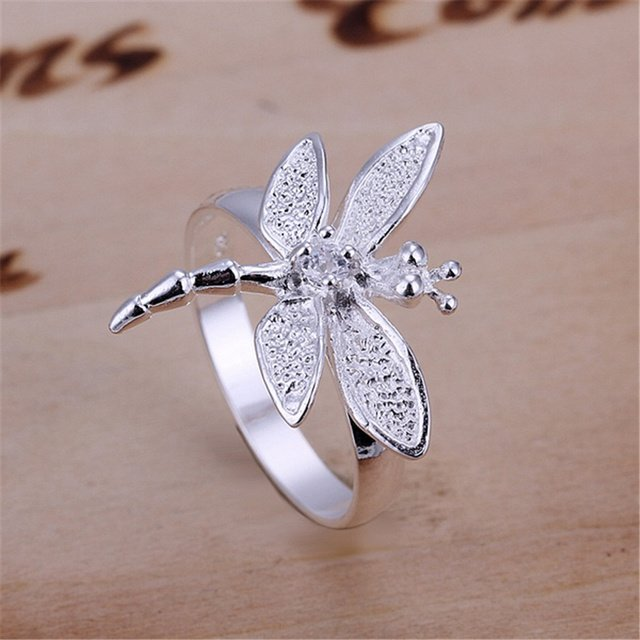R017 Christmas gift free shipping wholesale Fashion Dragon Crystal  silver ring high quality fashion classic girl gift Jewelry