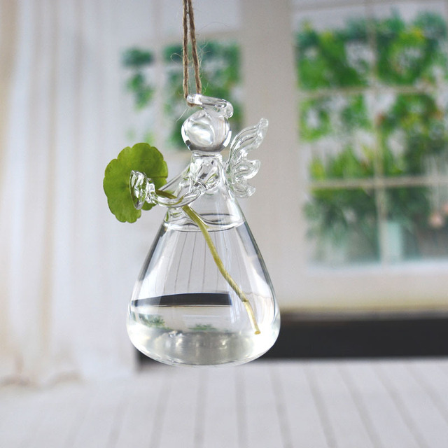 Home Garden Hanging Glass Ball Vase Flower Plant Pot Party Wedding Decor Creative Hanging Decoration Angel Glass Flower Vase