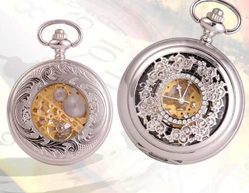 SEE THROUGH SILVER/BLACK MECHANICAL MEN'S POCKET WATCH