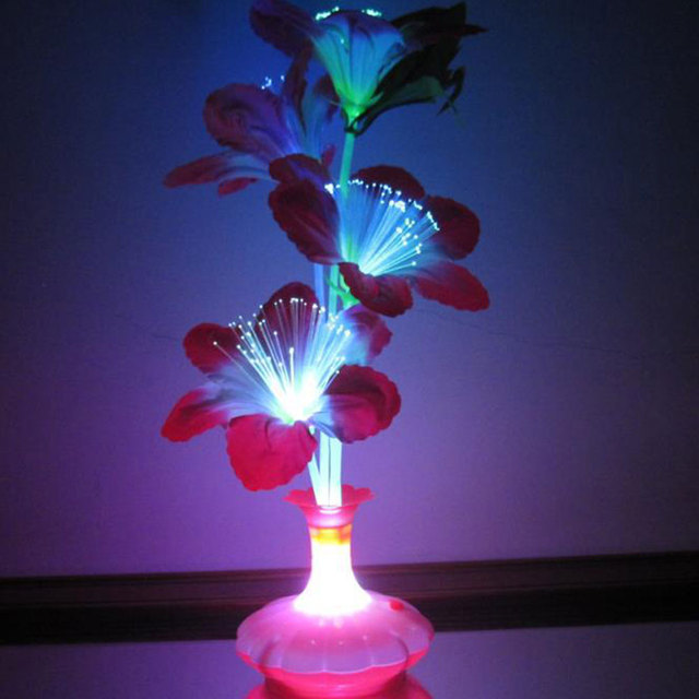 LED Fiber Flower Kapok Vase Optical Fiber Lamp Stage Decoration Colorful