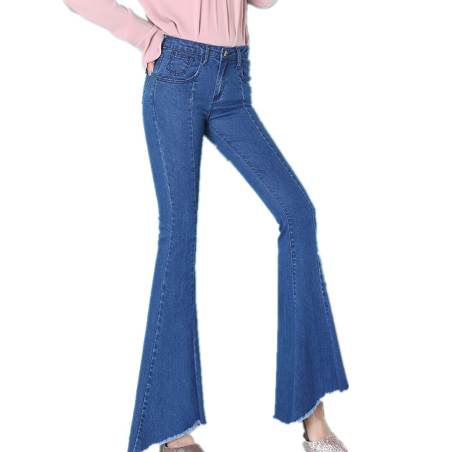 Fashion High-Waist Jeans Woman Spring Vintage Flare Jeans Femme Long Pants Trousers Women Vaqueros Mujer Wide Leg Pants C3881