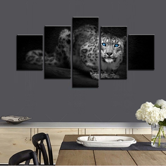 Black And White Leopard Panthera Onca Blue Eyes Poster Prints Oil Canvas Painting For Living Room Wall Art Bathroom Home Decor