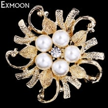 EX-MOON 3pcs Women Simulated Pearl Flower Brooch Pins Bride Crystal Rhinestone Metal Brooch Pins For Clothes Bag Scarf Jewelry