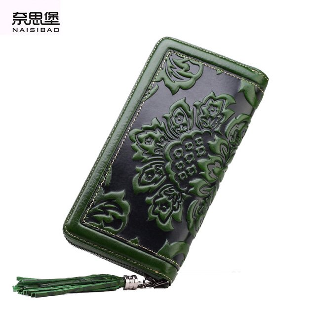 NAISIBAO 2018 luxury genuine leather women long wallet brand purse ladies clutch vintage designer printing wallets chinese style