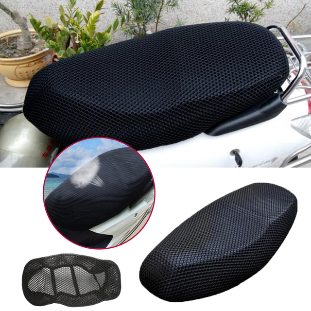 Motorcycle Seat Cover 3D Black Elctric Bike Net Breathable Protector Cushion Sun
