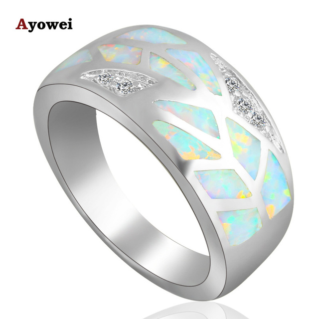 Luxury rings for women White fire Opal Silver zirconia fashion jewelry Rings USA Size #5.5#6.5#7.5#8.5 OR701A