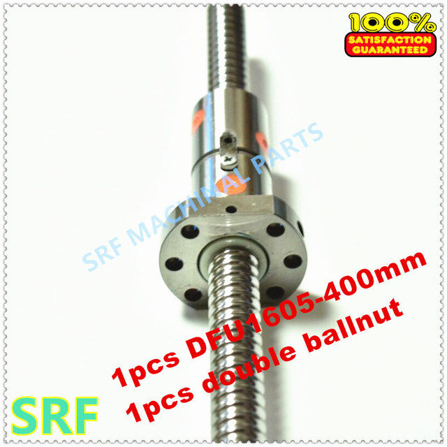 16mm Dia  Ballscrew RM1605 set:1pcs 1605 Rolled ball screw L=400mm C7 +1pcs Double Ball nut without end machined