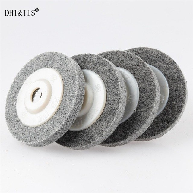 DHT&TIS DHT&TIS 4pieces 100*12*16mm Nylon Grinding Disc 7P 180# Flap Wheel for Metal Finish Wood Polishing on Angle Grinder