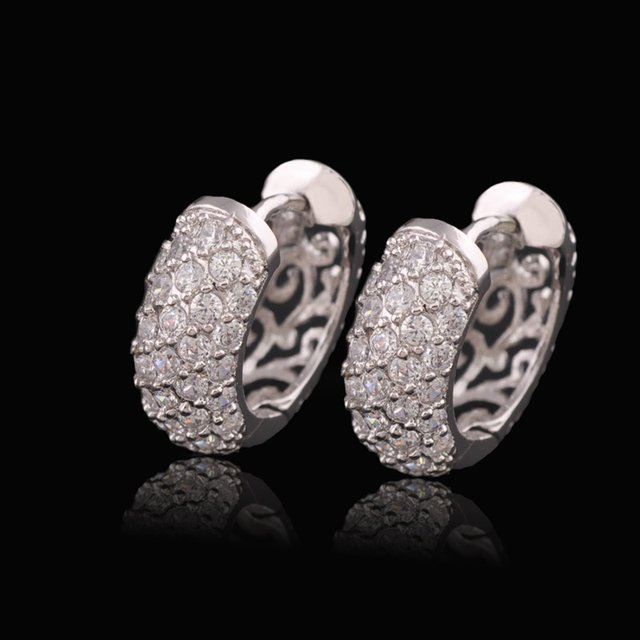 MxGxFam High Quality White Gold Plate Earrings For Women Clear Stones