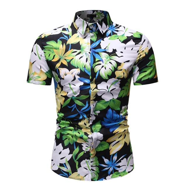 Men's New Hawaiian Printed Shirts Turn-Down Collar Slim Fit Short Sleeve Male Top Shirt Blouse 2019 camisa masculina June 17