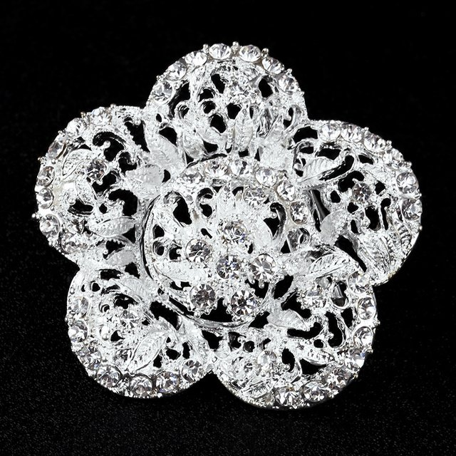 Silver Plated Five Flower Rhinestone Brooch Pins big Brooches For Women Lapel Pin Collar Tips Hajib Jewelry Gift