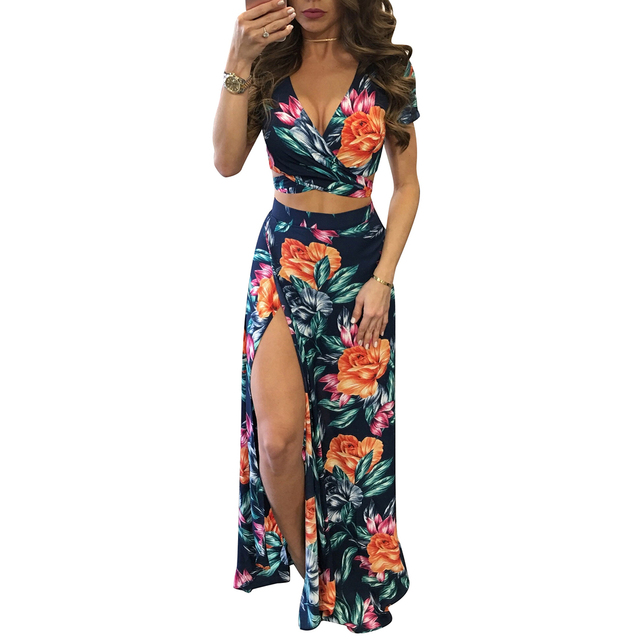 YJSFG HOUSE Elegant Women Summer Long Maxi Dresses Two Piece Set Sexy 2019 Hollow Out Crop Top Skirts Floral Print 2 Piece Suits