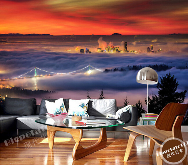 The latest 3D murals,  City building in the beautiful clouds background , sofa bedroom living room TV background wall wallpaper