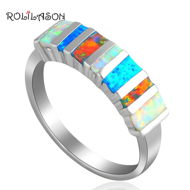 ROLILASON chic design High Quality mix Color Fire Opal Silver fashion jewelry Rings for women USA sz  #6 #7 #8 #9 #10 OR635