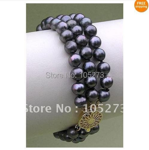 Stunning! 3Rows AA 7-8MM black color Genuine Freshwater pearl bracelet length:7.5''inchs 1pcs/lot  free shipping FN38