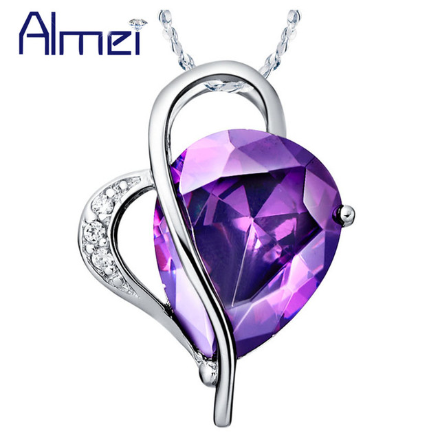 Almei 5%Off Necklace Fashion Love Design Crystal Pendants Necklaces With Red Purple Stone Jewelry For Women Chain Gifts N447