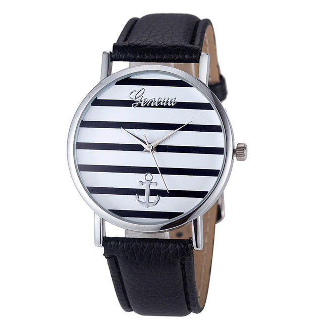Watch Famous Brand Women's Geneva Striped Anchor Analog Leather Quartz WristWatch Women Watches Relojes Mujer Montre Femme