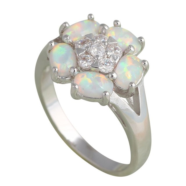 floating charms flower design White fire Opal Silver Stamped zirconia fashion jewelry Rings USA Size #6#7#7.5#7.5#8#9 OR702A