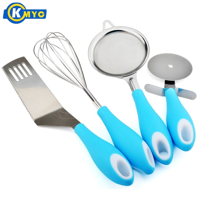 KMYC Four Sets Of Stainless Steel Baking Tools Flour Sieve Whisk Pizza Knife Serrated Knife Kitchenware For Cake Cookies Mater