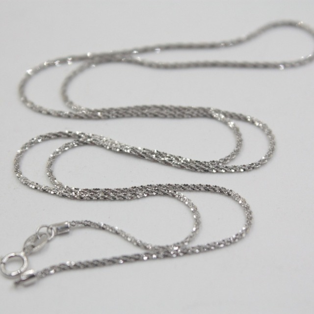 New Au750 Real 18K White Gold Chain  Women Full Star Link Necklace 18inch