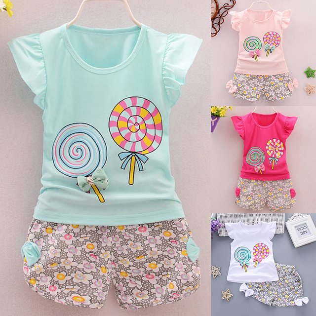 2PCS Baby Girls Clothes Sets Summer Children Lollipop Printed Tee +Flower Short Pants Kids Girls Casual Outfits Suits
