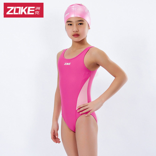 swimsuit female swimming suit for children Zoke medium-large child one piece triangle professional young girl swimwear