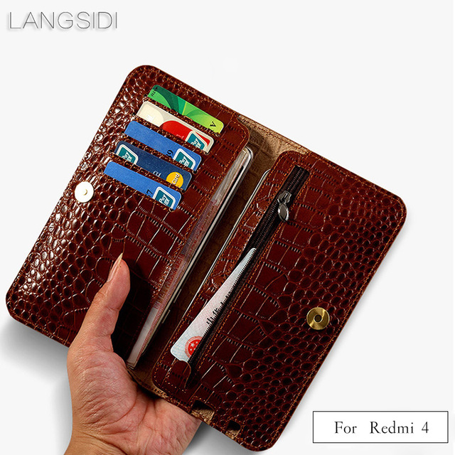 2018 New brand genuine calf leather phone case crocodile texture flip multi-function phone bag for Xiaomi Redmi 4 hand-made