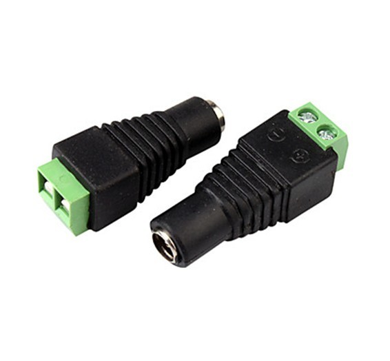 100pcs/lot  5.5 x 2.1mm DC Power Female Jack to 2 Conductor Screw Down Connector for LED Light Controller / CCTV Power VD-CA15