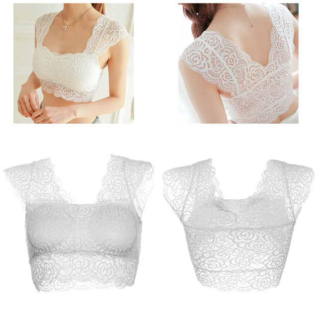 1 PC Summer Fashion Women's Sexy Lace Tank Tops Black/White Bustier Bra Lady Vest Crop Top Wrapped Chest Bralette Camisole