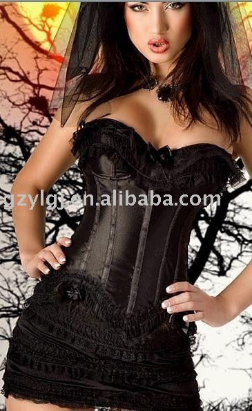 free shipping -Wholesale Ladies Sexy Lingerie Satin Lace Up Basque Corset Separate mini Skirt A2601 S--6XL