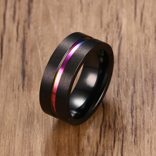 Free Engraving Personalized 8mm Brushed Finish Rainbow Inlay Grooved Engagement Rings in Stainless Steel Flat Edges Rings