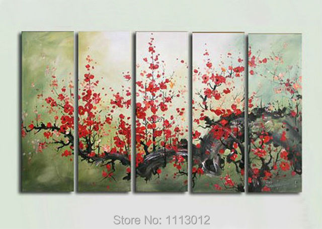 100% Hand Painted 5 Piece Set Modern Red Plum Flower Oil Painting On Canvas Home Wall Decoration Art Picture For Living Room
