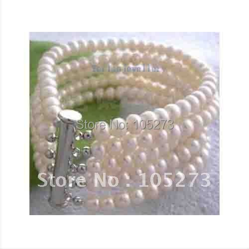5 ROW AA 7-8MM REAL WHITE PEARL CLASP BRACELET 7.5''INCHS FAHSION WOMAN'S JEWELRY NEW FREE SHIPPING FN580
